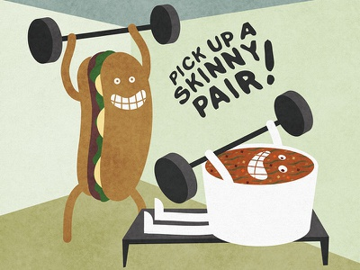 Skinny Pair smile potbelly weightlifting gym soup sandwich illustration