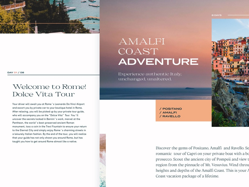 52 Layouts — 19 amalfi travel italy porpora ortica messapia collletttivo typogaphy adobexd editorial layout website