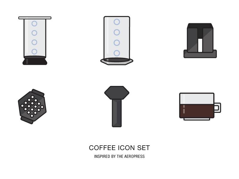 Icon Set vector aeropress coffee illustration iconography flat icons