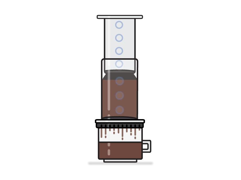 Making Coffee vector iconography illustration flat design coffee aeropress