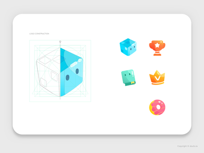 Doufu Icons Redesign app affinity designer crown donut book tofu doufu mobile color ui icon set icon