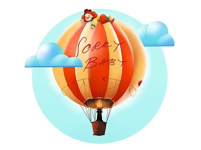 Balloon&clown villanelle sorry baby killing eve noise texture illustraion cloud clown balloon