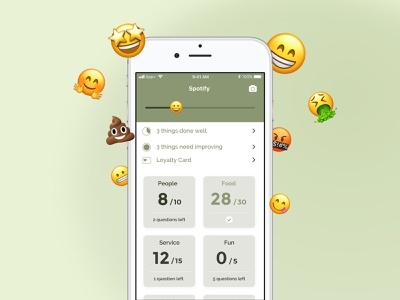 Genuine Dining Surveyor App emoji scoring restaurant dining ios mobile app ui