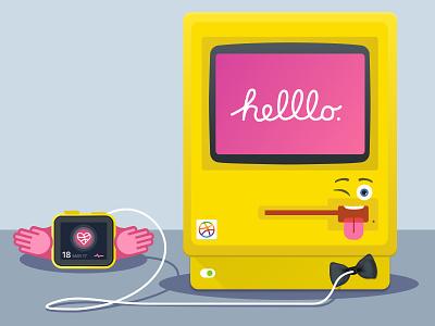 Helllo Dribbble, Emoji Style! apple watch flat mac emoji illustration dribbble hello debut