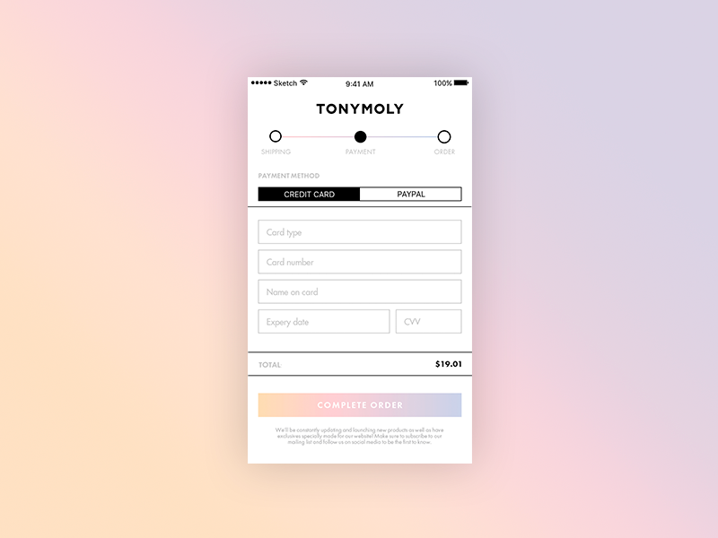 DAILY UI #002 - CREDIT CARD CHECKOUT checkout ui design sketch day002 daily ui challenge tonymoly app