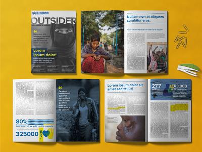 UNHCR Newsletter brochure design graphics design layout design layout indesign vector branding icons illustration graphics