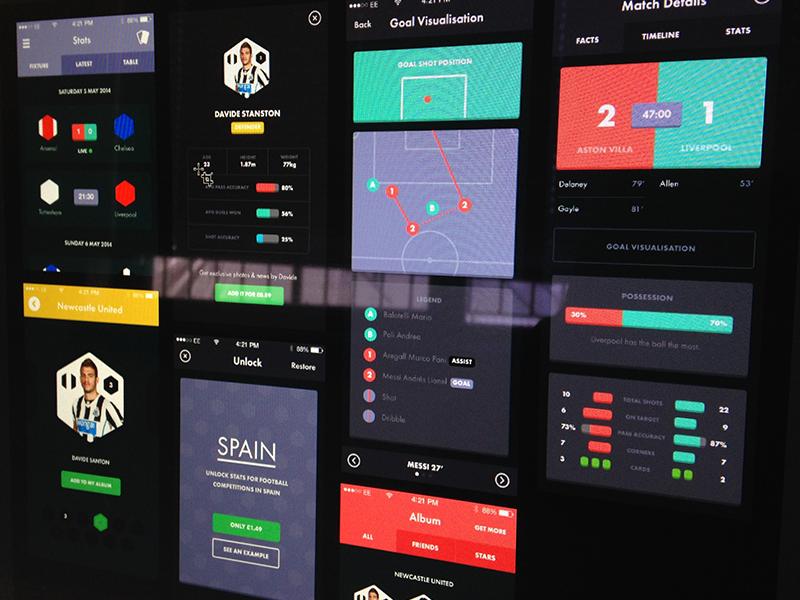 iPhone Football App First Draft graph chart data stat iphone football stats lists graphs matches scores buttons