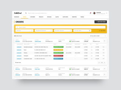 E-Commerce Dashboard - Orders Overview portal admin cms crm orders dashboard e-commerce