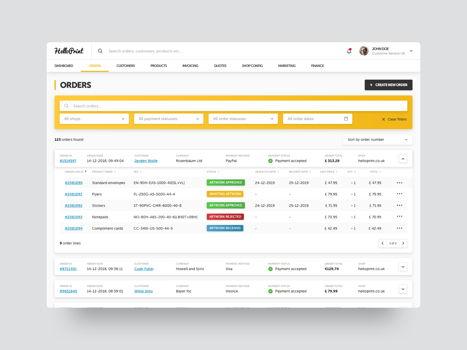Orders overview dribbble