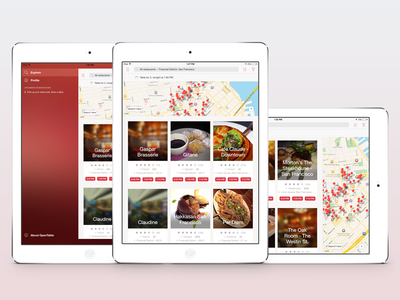 OpenTable app redesign for iPad