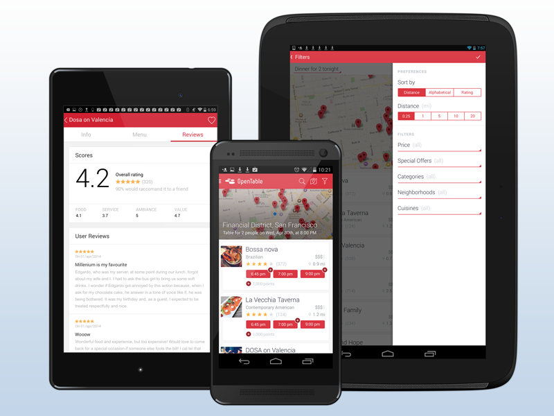 OpenTable Android App By Pietro Schirano Dribbble - Open table app for android