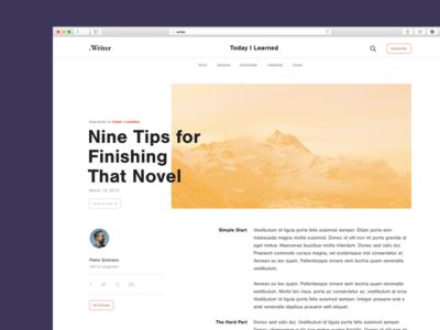 .Writer Web ui article minimal webdesign clean layout publishing blog typography writer