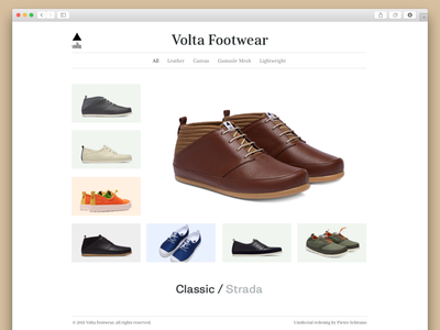 Volta Unofficial Redesign ui clean gallery view shopping shot minimal volta shoes fashion redesign
