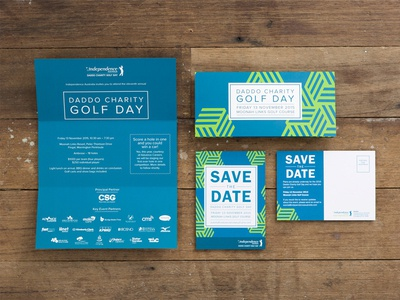 Daddo Charity Golf Day ~ Event collateral fundraising event not-for-profit corporate design print save the date invitation