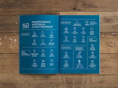 Independence Australia ~ Infographic corporate icons graphic design layout design print annual report not-for-profit infographic