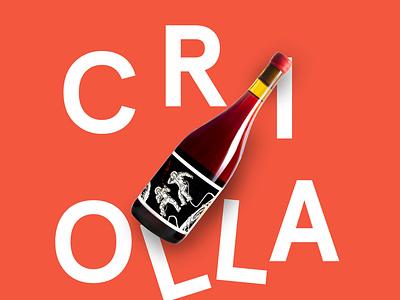 Criolla  - Les Astronautes - Label Design label vector logo wine typography graphic design design branding