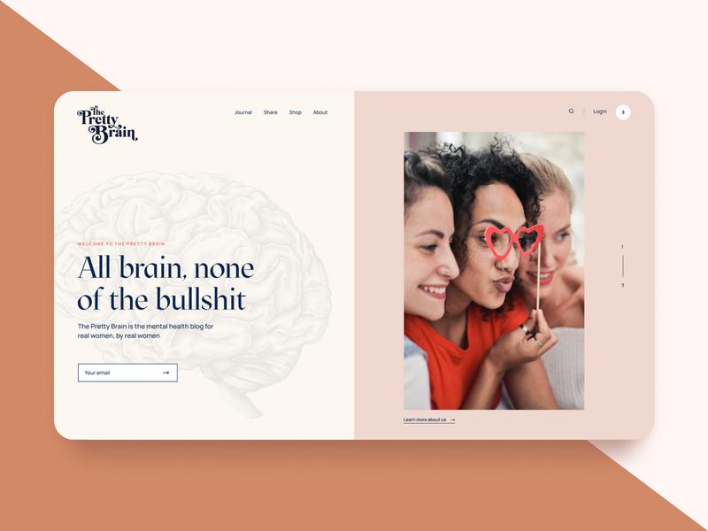 The Pretty Brain health mental female women landingpage article blog brain ui