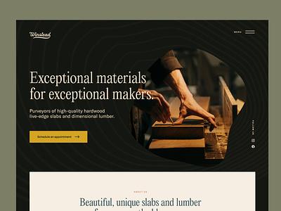 Winstead Slabs Website Preview sawmill saw woodworking natural organic dark grain texture grain lumber timber wood website design website
