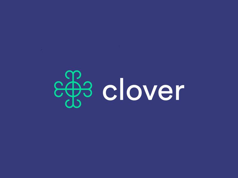 Clover Logo financial finance mobile app clover line icon minimal design logo