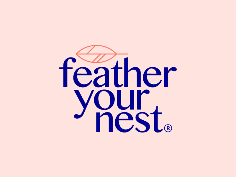 Feather Your Nest Logo kentucky minimal icon line feather antique logo ky lexington