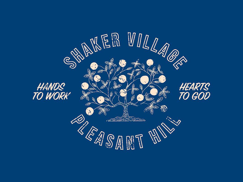 Shaker Village Badge shaker kentucky texture distressed tree of life tree illustration badge logo