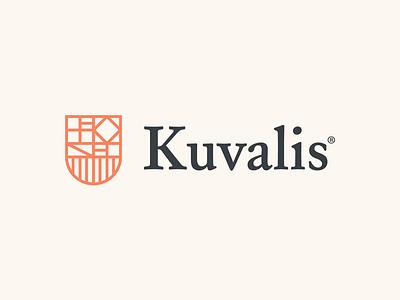Kuvalis Logo serif shield monoline icon line minimal logo