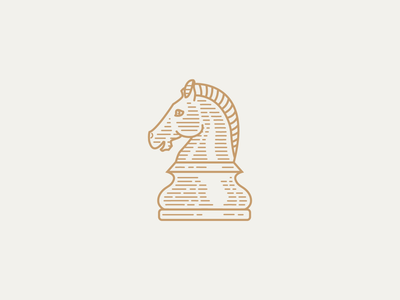 Knight Mark chess knight horseracing horse monoline line minimal logo