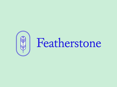 Featherstone Logo minimal icon line feather type logo