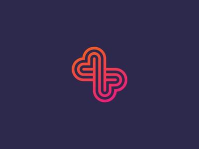 Logo Exploration geometric butterfly heart gradient monoline line icon logo