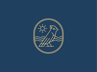 Surfin' bird mark 🐦 mark surf badge bird icon line logo minimal