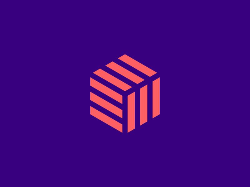 Cube mark app software technology geometric cube monoline icon line mark logo