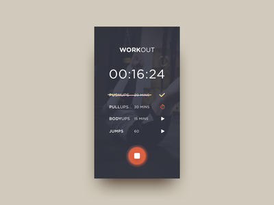 Workout Tracker dark concept minimal timer tracker workout shadow diffuse day41 dailyui