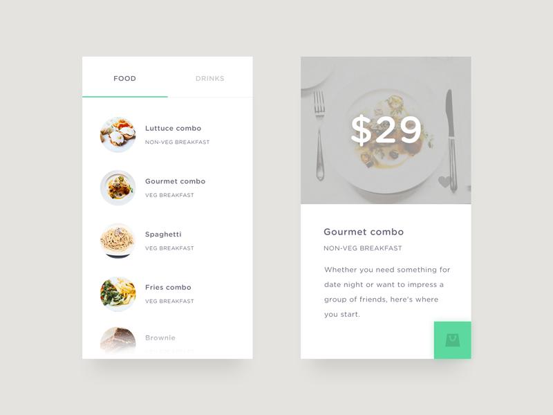 Food/Drink Menu 43 app concept minimal menu drink food fooddrink menu day43 dailyui
