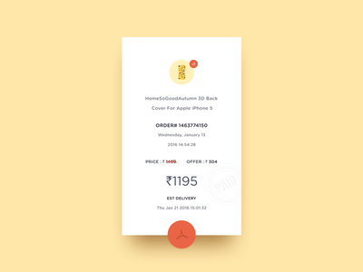Invoice fab daily ui yellow shadow diffuse minimal bill invoice clean 46 dailyui