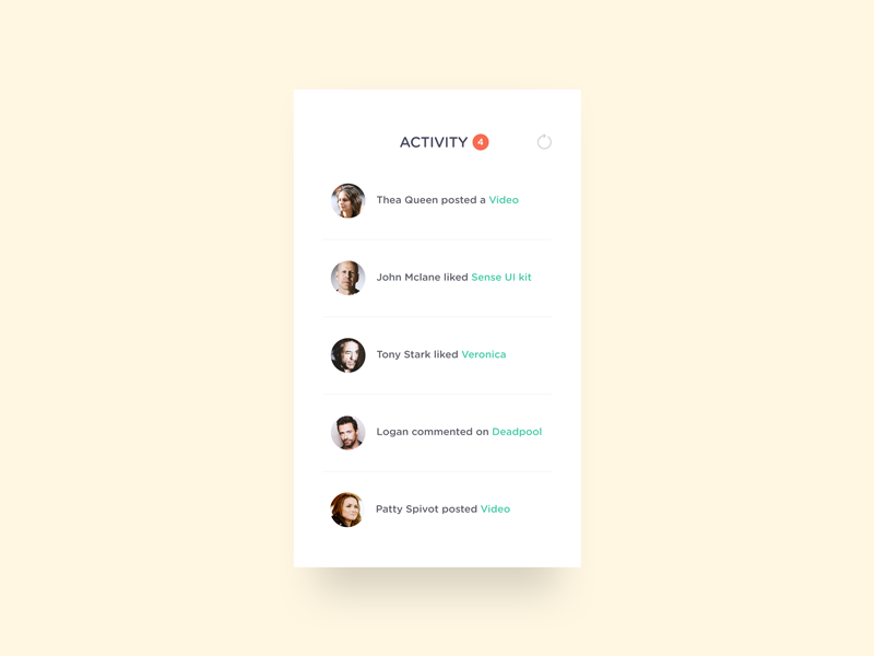 Activity Feed concept minimal feed activity activity feed 47 day47 dailyui