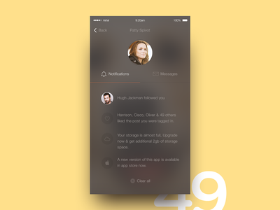 Notification Screen screen app shadow diffuse notification ios translucent 49 day9 dailyui