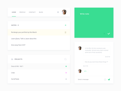 Coco UI Kit - Freebie Vol 1 designer minimal subtle green lite free elements freebie psd kit ui uikit
