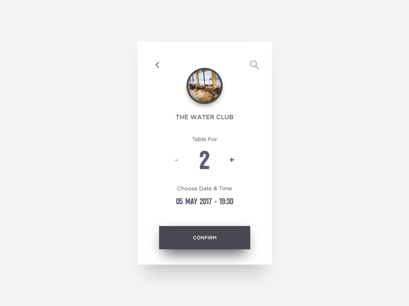 Confirm Reservation  designer diffuse minimal clean white black reservation ui daily dailyui concept shadow