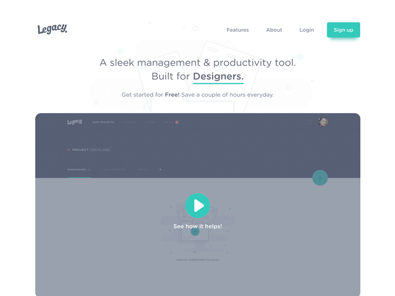 Legacy - We're Live again! productivity tool designer product minimal web page landing front-end website legacy