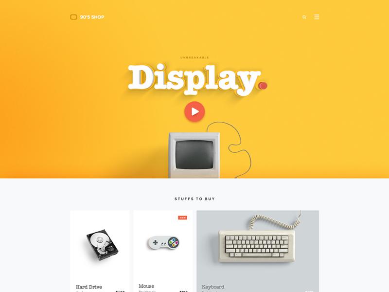90's shop - landing page designer 90s ui website clean fun yellow web page landing landingpage freelance