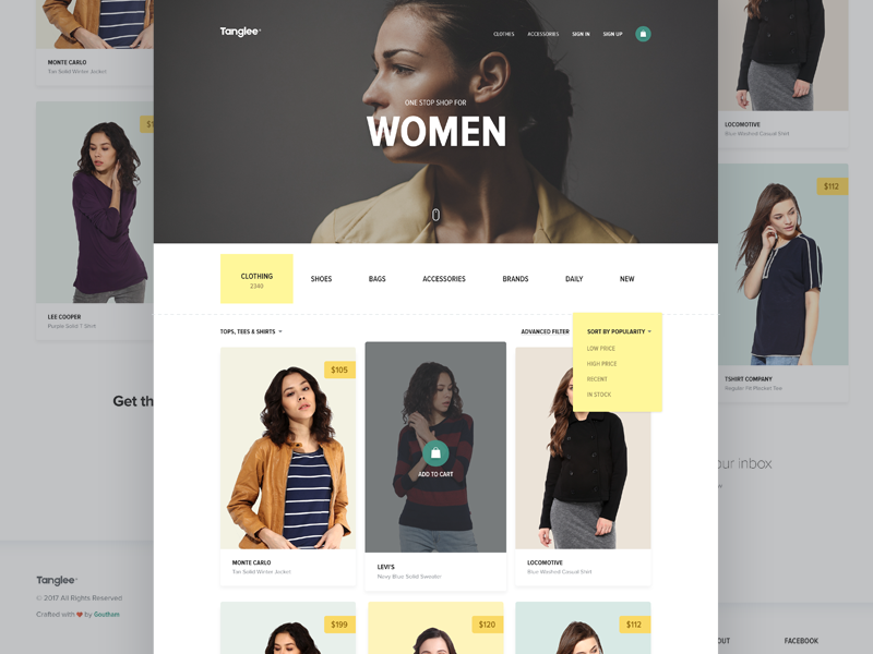 Tanglee - E-shop preview designer filter women template dailyui clothing product minimal clean shopping ecommerce theme