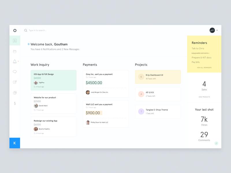 Krt - Dashboard designer white ux ui clean minimal dashboard