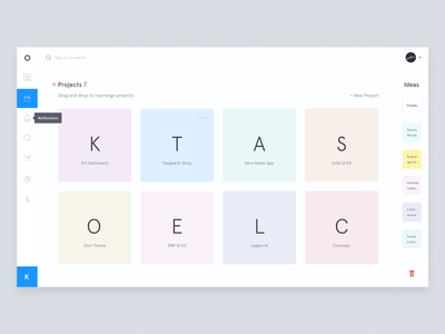 Krt - Projects view designer interface list projects project dashboard minimal clean ui ux white