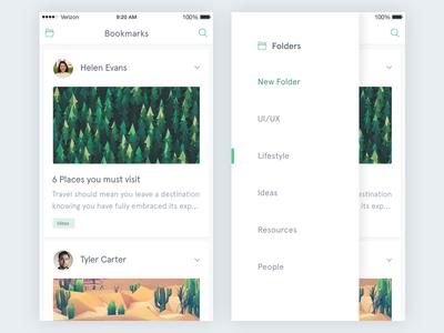 Bookmark iOS - Folder Menu designer menu sidemenu ios app ui ux bookmark list minimal dailyui card