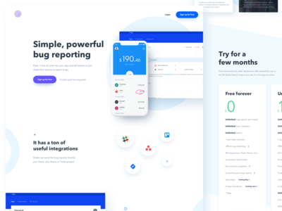 Landing page from a Real Project iphone designer homepage landing bug blue white minimal site website webpage