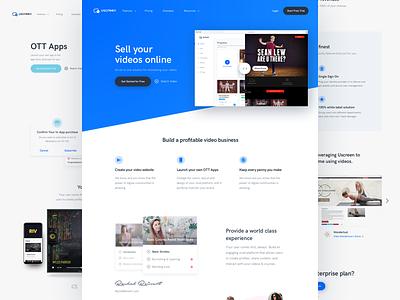 Website redesign for uscreen.tv webpage website site minimal white blue tv landing homepage designer uscreen