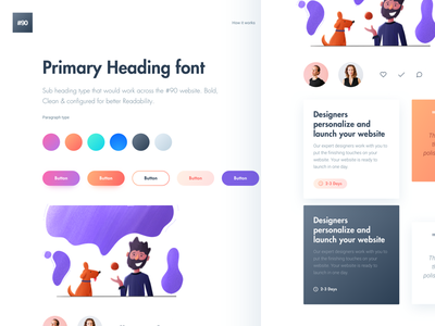 Website Style guide icons colors palette designer gradient illustration moodboard website cards ui styleguide