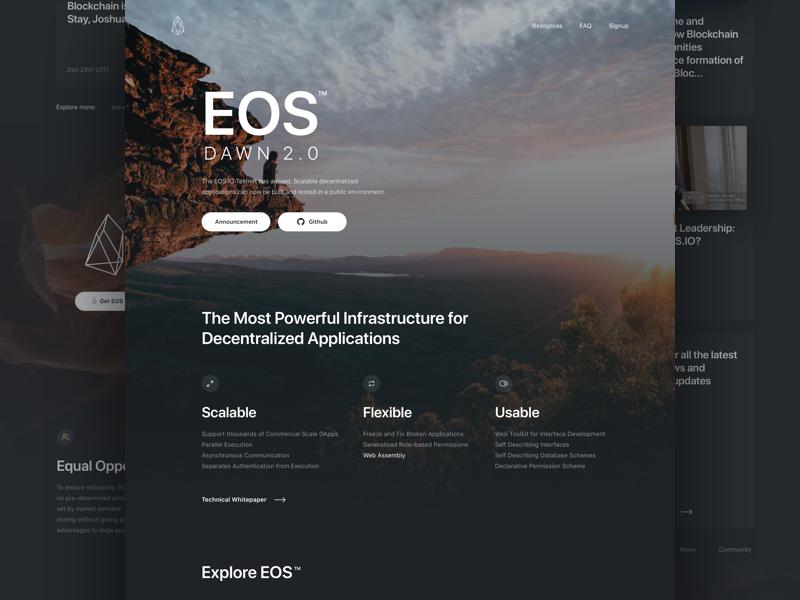 eos.io - Landing page website webpage token homepage landing eos designer dawn 2.0 dark card