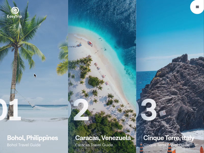Simple travel guide website ux  ui ease white animation motion animation transition image invisionstudio invision mp4 motion landing travel agent website