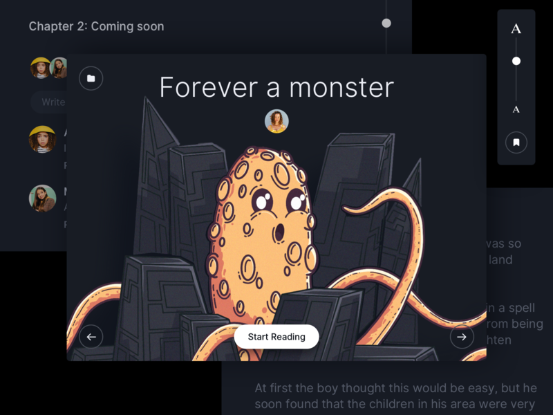 Story app for Kids - WIP illustration project designer ux ui dark monster night kids osx mac app